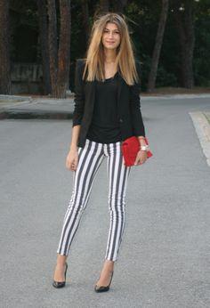 stripes pants, black blazer black white