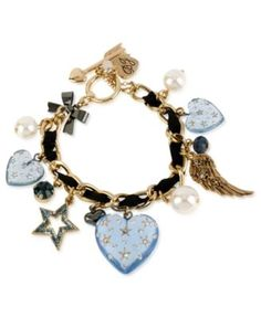 Betsey Johnson Bracelet, Multi-Tone Glass Lucite Heart Bracelet