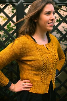 Emelie by elinknits - lace front cardigan in fingering weight wool