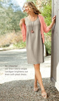 Linen soft-pleat dress, linen-blend drape cardigan, double-strap platform sandals, and jade pendant necklace | www.jjill.com