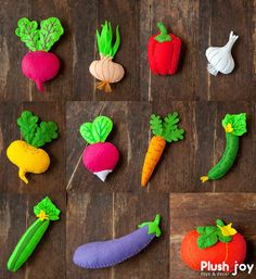 A set of felt vegetables in a linen shopping bag by Plushjoy