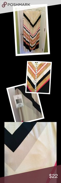 """Striped Maxi Skirt NWT Long maxi with pretty colors. 38"""" long. NWT $60. Bought at discount store for $28. Material has a couple flaws that are barely noticeable (see last pic). Price reflects. ECI Skirts Maxi"""