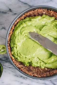 Avocado Key Lime Cheesecake recipe (crazy cream and fluffy!), grain free, gluten free, dairy free, paleo via barerootgirl.com