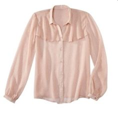 Jason Wu for Target chiffon pink blouse Jason Wu for Target® Long-Sleeve Sheer Blouse in Blush Dots. Size small. Jason Wu Tops Blouses
