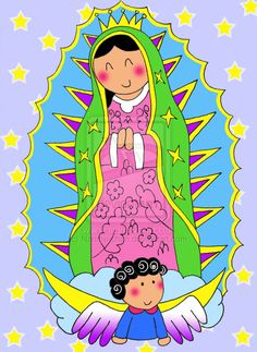 LA VIRGEN DE GUADALUPE~LUPITAS Catholic Religion, Catholic Saints, Alice In Wonderland Tea Party, Holy Mary, Blessed Virgin Mary, Watercolor Bird, Mexican Folk Art, Blessed Mother, Christian Art