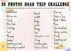 30 Photos Road Trip Challenge!