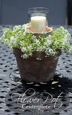 House Garden Design This beautiful flower pot centerpiece is easy and affordable to create and makes a great gift for Mother's Day. It will last all season and can also be used for small weddings, bridal showers or luncheons. Flower Pot Centerpiece, Flower Arrangements, Simple Centerpieces, Candle Centerpieces, Wedding Centerpieces, Container Plants, Container Gardening, Container Flowers, Pot Jardin