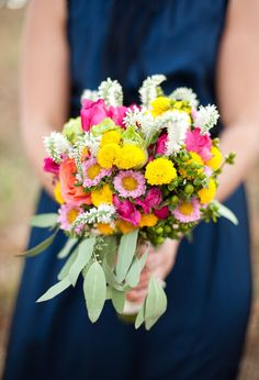 Veronica, Hypericum Berry, Roses, Button Poms - Very cute country bouquet for bridesmaids