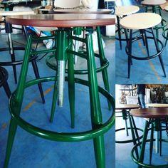 Visit Tsinos.gr #stool #industrial_design #metal_stool #the#restaurant_chair #cnc_tube_bender #cnc_ξύλου #λειζερ_σωλήνας. #ral6005 Metal Stool, Metal Chairs, Cafe Furniture, Metal Furniture, Industrial Stool, Industrial Design, Cnc, Bar Stools, Home Decor