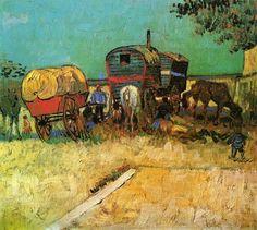 Encampment of Gypsies with Caravans, 1888, Vincent van Gogh Size: 45x51 cm Medium: oil on canvas