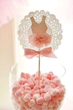 Marshmallow bowl with ballerina tutu doily topper