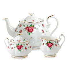 Buy Royal Albert 3-Piece Tea Set in New Country Roses White from Bed Bath & Beyond