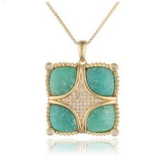 18K Gold over Sterling Silver Amazonite and  White Sapphire Pendant