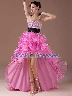 High Low Organza Ruched Sweetheart Classic Two Tone Puffy Prom Dress - US$ 134.09 - Style JD1043 - Jacks Dresses