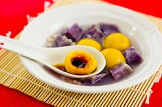 Pumpkin Dumplings with Purple Yam (南瓜湯圓) - Mostly seen in Northern China, dumplings come in all kinds of forms and shapes. In some families, they make them together as a holiday tradition. This particular recipe is very special and not seen often in China. The dough itself is made out of pumpkin and glutinous rice flour, and mixed with versatile, purple yam, it has a colorful look! Great as an appetizer or desert!