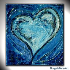 Heart picture 43 - heart painting painting blue Source by Heart Painting, Painting Edges, Texture Painting, Painting Abstract, Heart Canvas, Heart Art, Diy Canvas Frame, Watercolor Pencil Art, Figurative Kunst