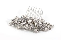 Silver leaves and crystal on a mini-comb Bridesmaid Accessories, Bridal Accessories, Accessories Shop, Tiara Hairstyles, Wedding Dress Shopping, Art Deco, Crystals, Mini, Silver