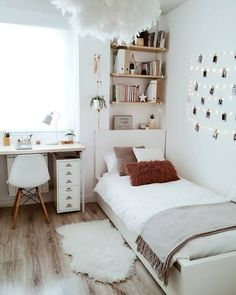 dream rooms for adults ; dream rooms for women ; dream rooms for couples ; dream rooms for adults bedrooms ; dream rooms for girls teenagers Girl Bedroom Designs, Room Ideas Bedroom, Teen Room Decor, Small Room Bedroom, Bedroom Inspo, Teen Bedroom Decorations, Small Room Decor, Cheap Bedroom Ideas, Simple Bedroom Decor