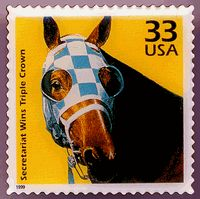 Secretariat, the 1973 Triple Crown winner, was the first Thoroughbred to be honored with his own USPS stamp.