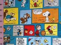 Peanuts Sports Fabric By The Yard FBTY on Etsy, $10.00