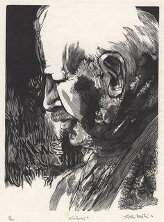 Stefan Martin, wood engraving, portrait of Ben Shahn