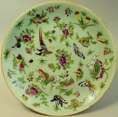 ANTIQUE CHINESE FAMILLE ROSE CELADON GLAZED PLATE C.1880