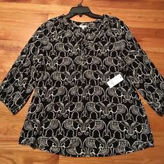 NWT, Crown & Ivy Black And Ivory Elephant Top Brand new with tags never worn, all rayon material, elephants, black and ivory color. Long sleeve Crown & Ivory Tops Blouses