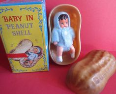 "vintage/new in box SHACKMAN miniature baby doll in peanut shell  -2.75"" vhtf #shackman"
