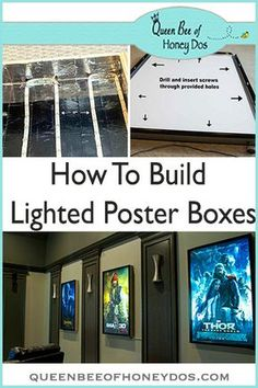 movie room decor DIY Lighted Movie Poster Box Queen Bee of Honey Dos Theater Room Decor, Home Theater Room Design, Movie Theater Rooms, Home Cinema Room, Movie Rooms, Small Movie Room, Decor Room, Home Theatre Rooms, Movie Theater Basement