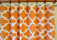 Pair of 50 wide Premier Print Fynn cinnamon tangerine by LivePlush
