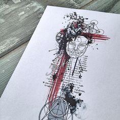 Abstract geometric trash polka science tattoo