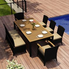Outdoor Harmonia Living Arbor 7 Piece Dining Set with Bench - HL-AR-CB-7BDS-CC