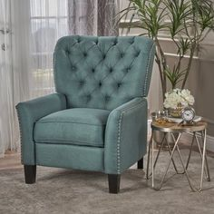 Alcott Hill Wellersburga Manual No Motion Recliner Upholstery: Teal Small Recliner Chairs, Small Recliners, Recliner With Ottoman, Leather Recliner, Power Recliners, Tufted Armchair, Farmhouse Recliner Chairs, Stylish Recliners, Sofa