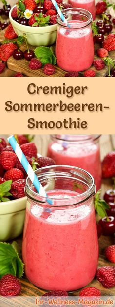 Summer berry smoothie - healthy recipe for losing weight- Sommerbeeren-Smoothie – gesundes Rezept zum Abnehmen Make Summerberry Smoothie Yourself – A Healthy Smoothie Prescription Diet for Breakfast Smoothies or Dietary Meals … - Fruit Smoothies, Healthy Smoothies, Strawberry Smoothie, Strawberry Banana, Healthy Protein, Healthy Weight, Best Smoothie, Smoothie Bowl, Smoothie Detox