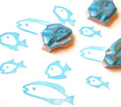 Rubber stamp set of 3 fish  hand carved by GreenGardenStamps, $15.00