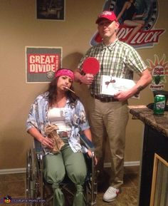 Salena: My husband and I were bored of the typical couples costumes (ie sexy or typical couples). The wheelchair was a key part of the costume and to achieve the illusion...