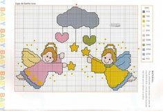 Hoje trago alguns gráficos de anjos. Dá para fazer um enxoval de bebê lindo com eles, ou dá pra selecionar alguns e bordar em toalhas. Enfim...