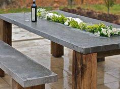Moderne-und-inspirierende-Gartendeko-aus-Beton_diy-Esstisch-und-Sitzbank-für-den-Garten #LampEsstisch