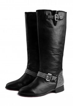 Christian Louboutin Shoes Studded Black Motorcycle Boots
