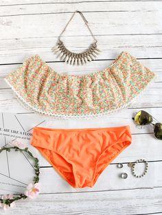Set con hombro al aire con estampado floral - naranja-Spanish SheIn(Sheinside)