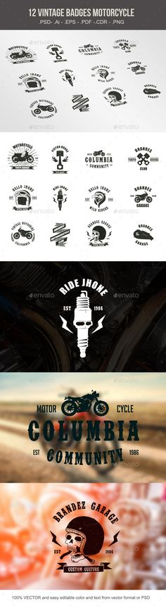 Vintage Badges Motorcycle Vector Template #design Download: http://graphicriver.net/item/vintage-badges-motorcycle/10246480?ref=ksioks