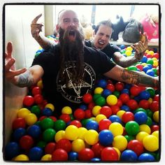 Five Finger Death Punch having some fun in the ball pit, totally normal
