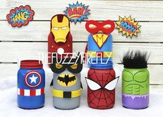Superhero Mason Jar CenterpieceBatman PartyIron Man | Etsy