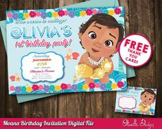 Baby Moana Invitation, Baby Vaiana Invitation, Printable Moana Invitation, Digital File, Birthday Party - Customized Vaiana Invitation