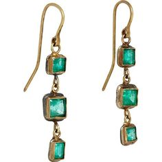 Judy Geib Women's Emerald Triple-Drop Earrings ($2,250) ❤ liked on Polyvore featuring jewelry, earrings, earring jewelry, emerald earrings, oxidized jewellery, judy geib and 18 karat gold jewelry
