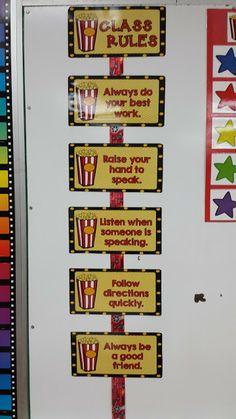 Let's Get Acquainted Linky and Classroom Update - Flying into First Grade Popcorn Theme Classroom, Star Themed Classroom, Circus Theme Classroom, 3rd Grade Classroom, Classroom Rules, New Classroom, Kindergarten Classroom, Movie Classroom, Classroom Ideas