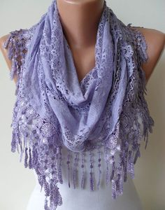 Fast shipping from Sweden 7-15 days to USA ,, 4-7 days to EUROPE  Lilac Lace Shawl / Scarf  with Lace Edge by SwedishShop on Etsy, $17.90