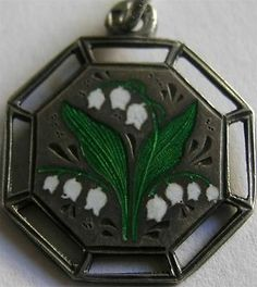RARE Antique German Enamel 800 Silver Lily of The Valley Charm May Flower | eBay