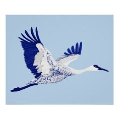 Blue and white cranes poster - blue gifts style giftidea diy cyo