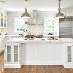 White KItchen Cabinets with Stainless Steel Appliances, Transitional, kitchen, Hampton Design